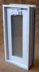 Müanyag üvegtégla ablak 19x38,5x8 cm méretű (álló )